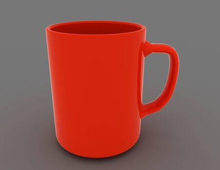 3d illustration of realistic classic red cupSave Comp . 3d rendered illustration