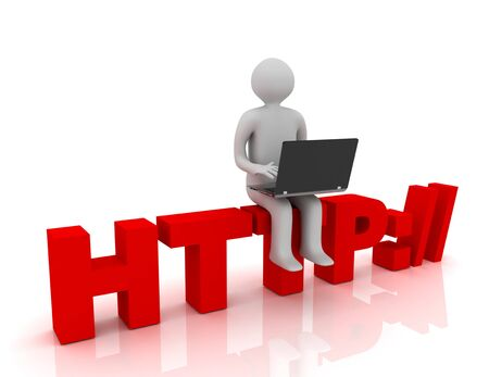 3d people - man, person sitting on HTTP sign with a laptop. Concept of communicationÑŽ. rendered illustration