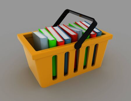 3d basket with books on gray. rendered illustration