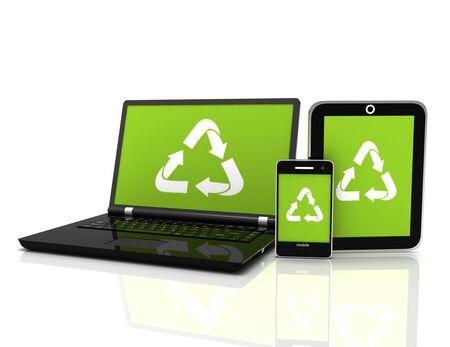 Computer portatile 3D con un simbolo di riciclaggio sullo schermo. concetto di conservazione ambientale