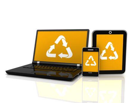 Ordinateur portable 3D avec un symbole de recyclage à l'écran. concept de conservation de l'environnement Banque d'images