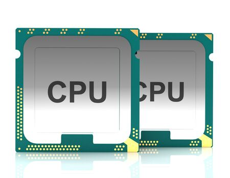 3d illustration computer PC CPU chip electronics industry concept, close-up view.