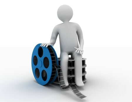 3d white people. Film director with  film reels. Isolated white background. Stockfoto
