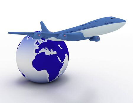3d aircraft and earth globe
