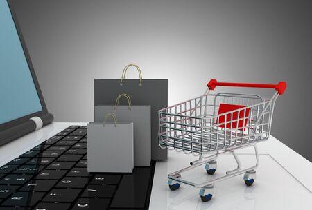 laptop cart and shopping bag. 3d illustration Reklamní fotografie