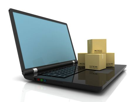 Technology business concept, shipping: cardboard package boxes on laptop Banco de Imagens