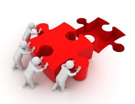 3d men pushing puzzle piece Banque d'images