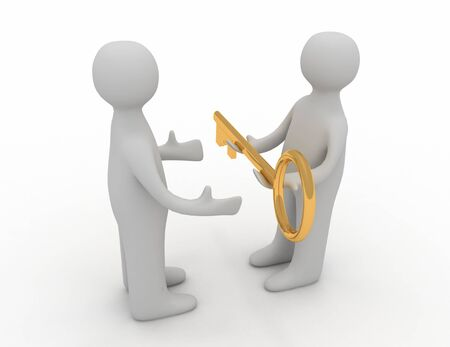 3d man giving golden key to another person