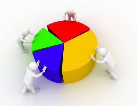 chart shift people 3d render illustration