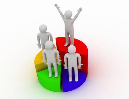 chart victory people 3d render illustration
