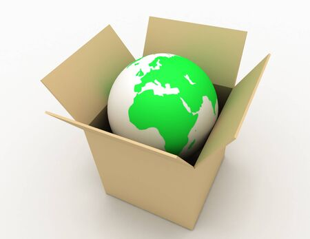Earth globe in cardboard box with the design of the information associated with the global concept