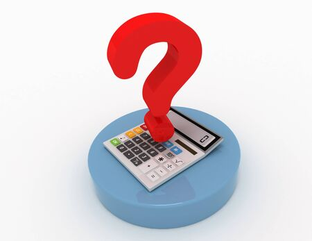 Calculator and question mark in the design of information related to the calculations and problems
