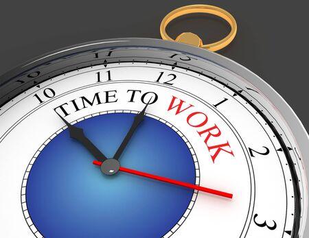 time to work concept clock closeup