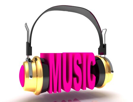 Music word with headphones. 3D illustration