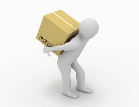 3d people - human character carry a big package . 3d render illustration
