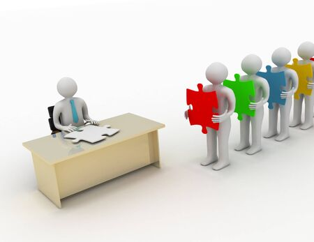 3d people wait in line holding puzzle pieces in front of a person sitting behind a desk having a mold