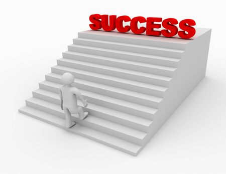 3d person climbing stairs that have the word success on top of them