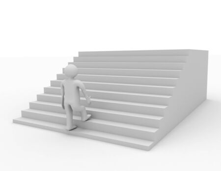 3d person climbing stairs. success concept Banco de Imagens