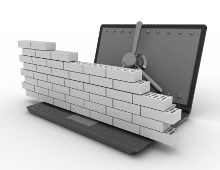 Laptop with combination Lock and brick wall. Firewall concept.