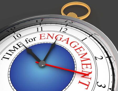 Engagement time red word on concept clock