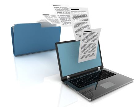 Files transfer between laptops and folder. 3d illustration.