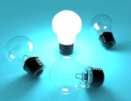 idea concept. light bulbs. 3d rendered illustration Banco de Imagens