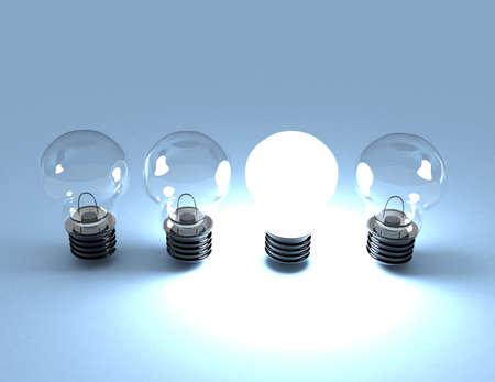 idea concept. light bulbs. 3d rendered illustration