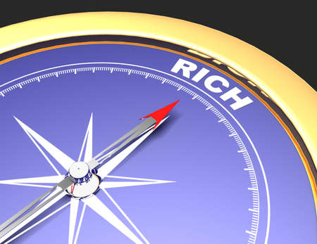Abstract compass with needle pointing the word rich. rich concept