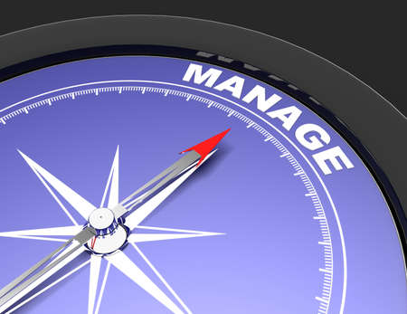 Abstract compass with needle pointing the word manage. manage concept