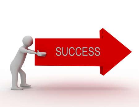 3d people - man, person pushing arrow. SUCCESS CONCEPT
