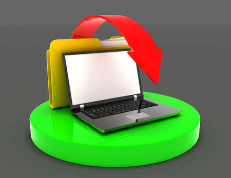 laptop and file folder transfer of data concept