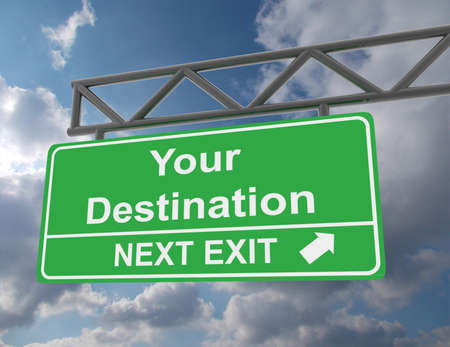 Green overhead road sign with a Your Destination Imagens