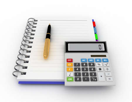 Office notepad with pen and calculator