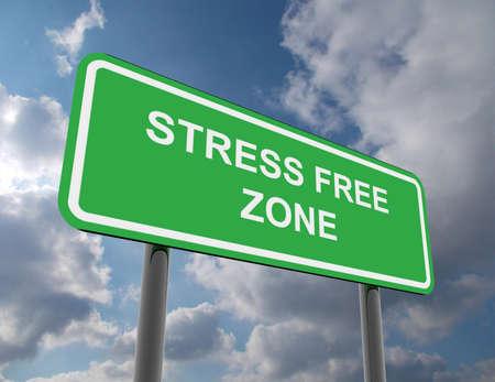road sign stress free zone Stockfoto
