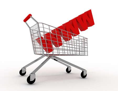 3d internet shopping trolley