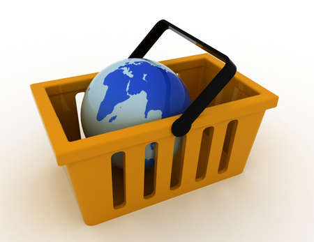 3d of World commerce, checkout icon 스톡 콘텐츠