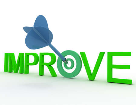 3d text improve with darts. success of your project concpet. 免版税图像