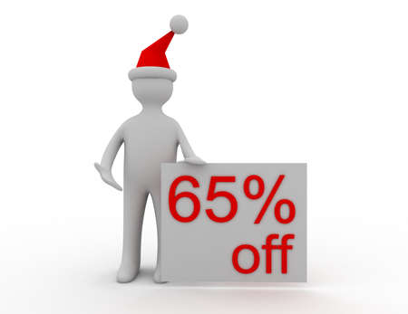3d Christmas sales concept 65% off