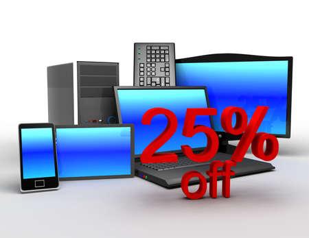 3d electronics concept. concept of electronic sales 25% off 免版税图像