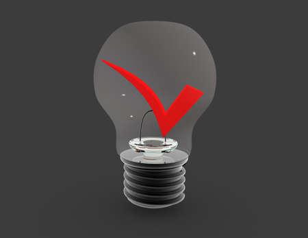 light bulb and check mark. 3d success concept 免版税图像