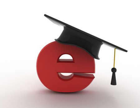 3d e-learning concept. graduation hat
