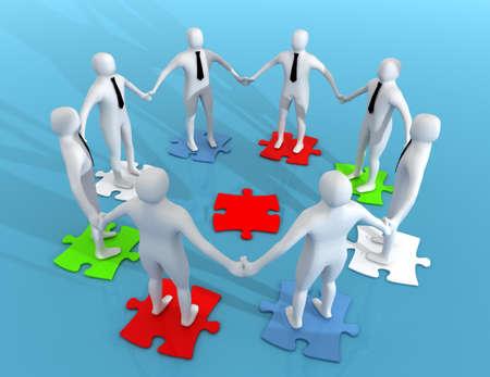 3D white businessman .teamwork concept 免版税图像