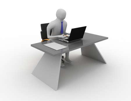 3d man working in office on laptop