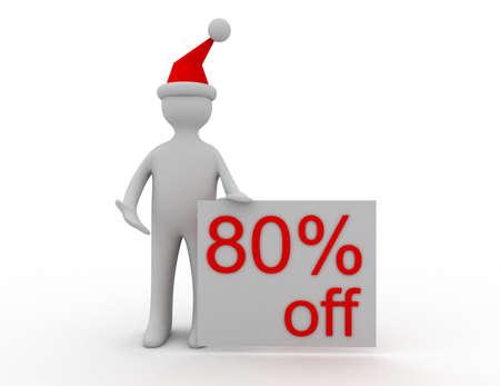 3d Christmas sales concept 80% off