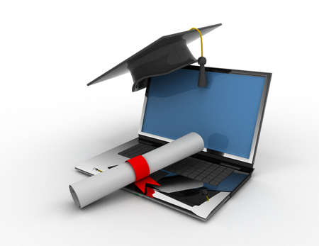 graduation cap with diploma. e-learning concept 免版税图像
