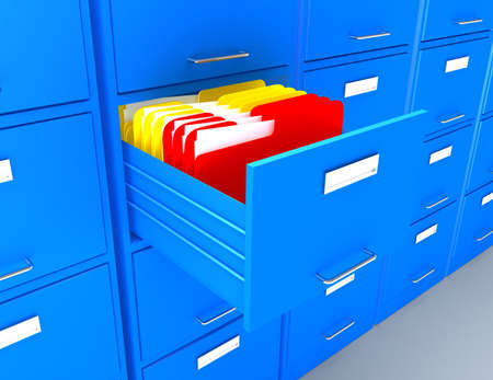 3d file cabinet and folders