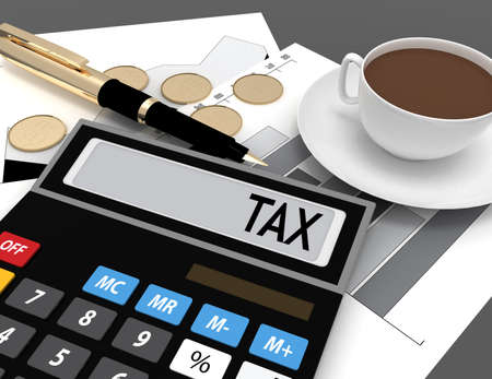 3d calculator with the word tax on the display Stock Photo
