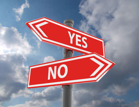 two road signs - yes or no choice Imagens
