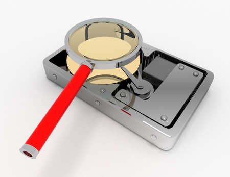 Hard Disk and magnifying glass