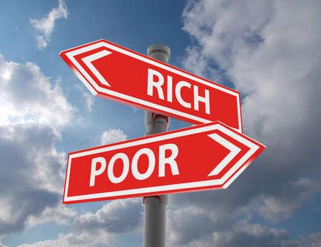 two road signs - rich or poor choice Banco de Imagens